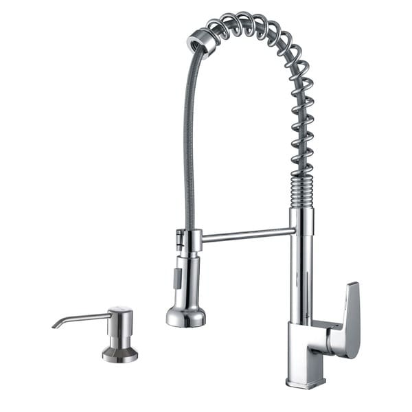 Ruvati Polished Chrome Commercial Style Kitchen Faucet with Soap Dispenser
