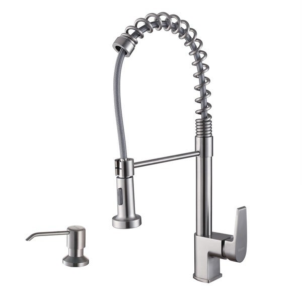 Ruvati Stainless Steel Pullout Spray Kitchen Faucet with Soap Dispenser