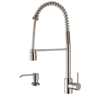 Ruvati Stainless Steel Commercial Style Kitchen Faucet with Soap Dispenser