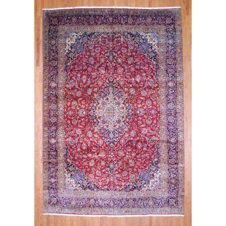 Persian Hand-knotted Kashan Red/ Navy Wool Rug (10'3 x 15')