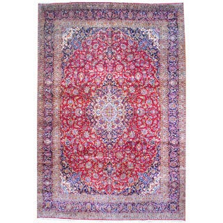 Herat Oriental Persian Hand-knotted Kashan Red/ Navy Wool Rug (10'3 x 15')