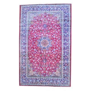 Persian Hand-knotted Isfahan Red/ Navy Wool Rug (9'9 x 15'4)