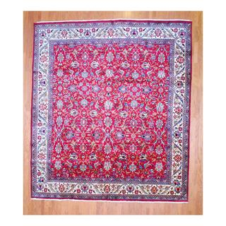 Persian Hand-knotted Tabriz Red/ Ivory Wool Rug (11'4 x 13'1)