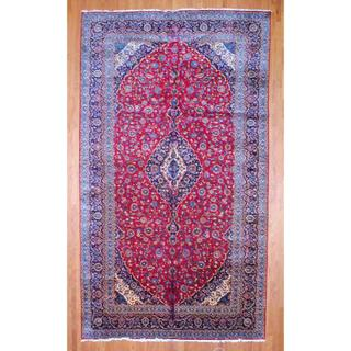 Persian Hand-knotted Kashan Red/ Navy Wool Rug (9'7 x 16'9)