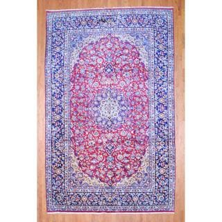 Persian Hand-knotted Isfahan Red/ Navy Wool Rug (9'6 x 15'3)