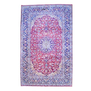 Herat Oriental Persian Hand-knotted Isfahan Red/ Navy Wool Rug (9'6 x 15'3)
