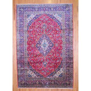 Persian Hand-knotted Kashan Red/ Navy Wool Rug (10' x 15')