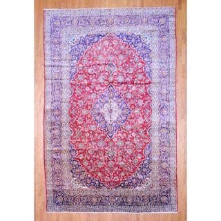 Persian Hand-knotted Kashan Red/ Navy Wool Rug (9'6 x 14'9)