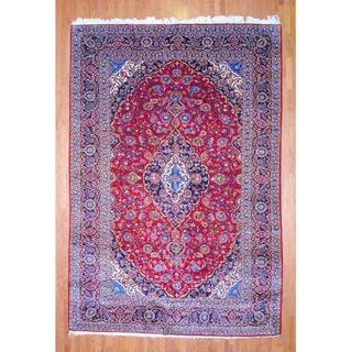 Persian Hand-knotted Kashan Red/ Navy Wool Rug (10' x 14'6)