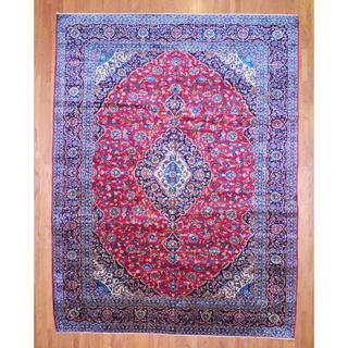 Persian Hand-knotted Kashan Red/ Navy Wool Rug (11'3 x 15')