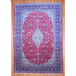 Persian Hand-knotted Kashan Red/ Navy Wool Rug (11'7 x 16'8)