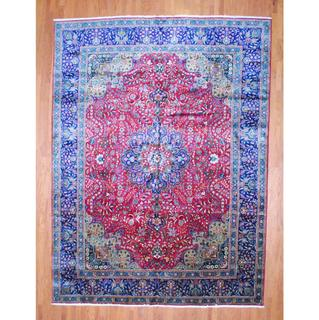 Persian Hand-knotted Tabriz Red/ Navy Wool Rug (11' x 15')