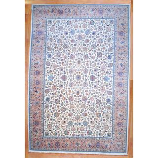 Persian Hand-knotted Mashad Ivory/ Peach Wool Rug (12'8 x 19'5)