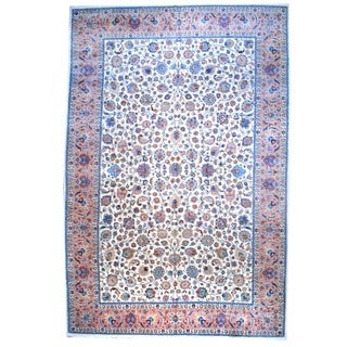Herat Oriental Persian Hand-knotted Mashad Ivory/ Peach Wool Area Rug (12'8 x 19'5)