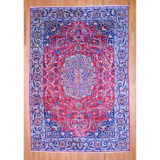 Persian Hand-knotted Isfahan Red/ Navy Wool Rug (10'5 x 15'5)