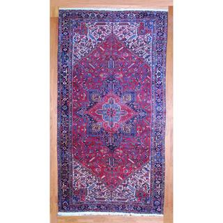 Persian Hand-knotted 1920's Heriz Red/ Navy Wool Rug (10' x 19')