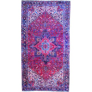 Herat Oriental Persian Hand-knotted 1920's Heriz Red/ Navy Wool Area Rug (10' x 19')