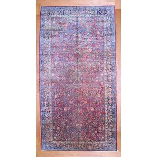 Antique Persian Hand-knotted 1920's Sarouk Red/ Navy Wool Rug (10'3 x 19'8)