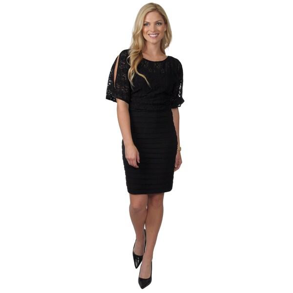 Jessica Howard Women's Blouson Lace Shutter Pleat Skirt Dress