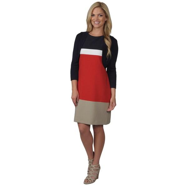 Jessica Howard Women's Sleeveless Colorblock Shift Dress
