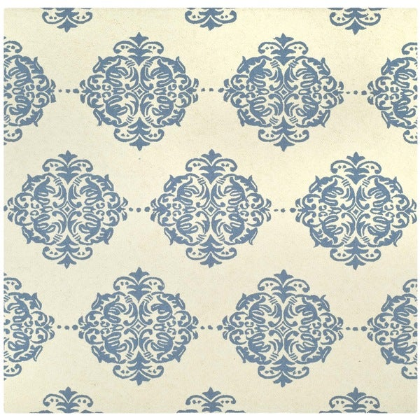 Safavieh Hand-hooked Chelsea Ivory/ Blue Wool Rug (6' x 6' Square)