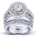 Annello 14k Gold 2 4/5ct TDW Diamond Halo Cluster Bridal Ring Set (H-I, I1-I2)