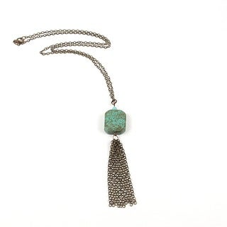 Pretty Little Style Bronze Plated Turquoise Tassel Necklace
