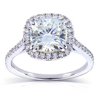 14k White Gold Moissanite and 1/4ct TDW Prong Diamond Engagement Ring (G-H, I1-I2)