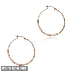Mondevio Sterling Silver 25-mm Hammered Hoop Earrings