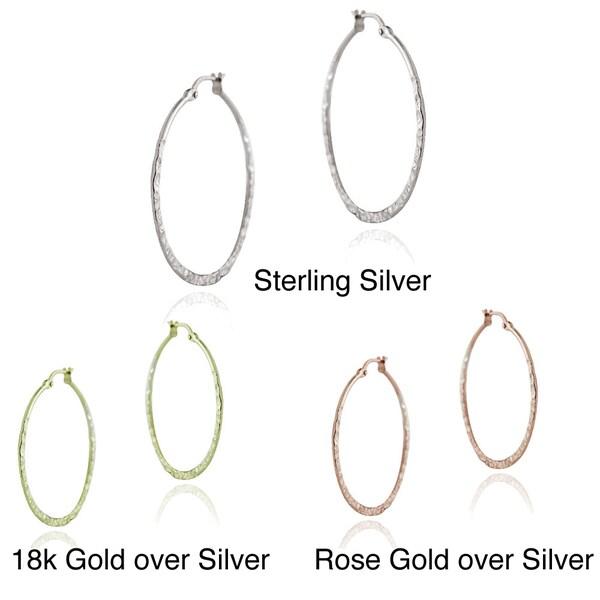 Mondevio Sterling Silver 25-mm Hammered Hoop Earrings 10948176