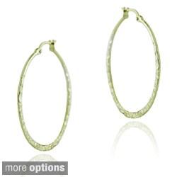 Mondevio Sterling Silver Hammered Hoop Earrings