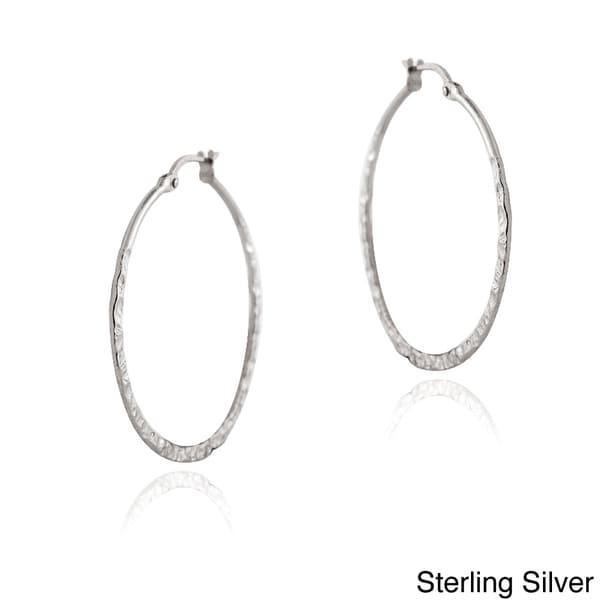 Mondevio Sterling Silver Hammered Hoop Earrings 10948178