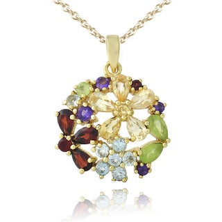 Glitzy Rocks Goldtone Multi-gemstone and Diamond Accent Necklace