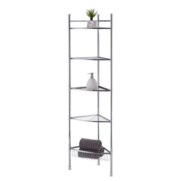 Chrome Five Tier Bathroom Corner Shelf
