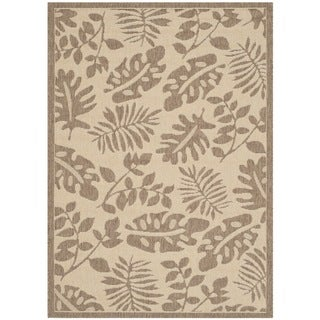 Martha Stewart Paradise Cream/ Brown Indoor/ Outdoor Rug (6'7 x 9'6)
