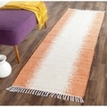 Safavieh Hand-woven Montauk Orange Cotton Rug (2'3 x 7')