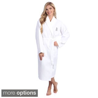 Authentic Hotel and Spa Monogrammed Turkish Cotton Unisex Waffle Weave Bathrobe