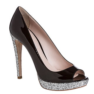 Miu Miu Women's Glitter Black Platform Pumps