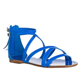 Miu Miu Women's Neon Patent Leather Flat Sandals