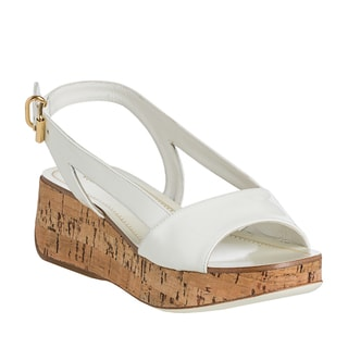 Miu Miu Women's White Patent Leather Cork Wedge Sandals