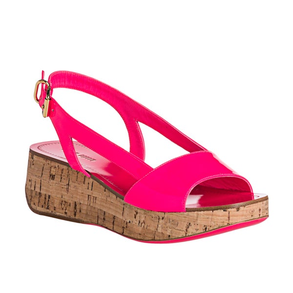 Miu Miu Women's Pink Patent Leather Cork Wedge Sandals