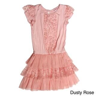Paulinie Collection Girls Short Sleeve Mesh Sequin Ruffle Dress