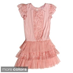 Paulinie Collection Girls Short Sleeve Mesh Sequin Ruffle Dress