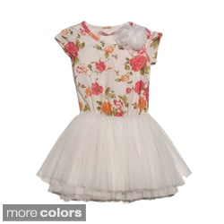 Paulinie Collection Girls Short Sleeve Tulle Skirt Dress