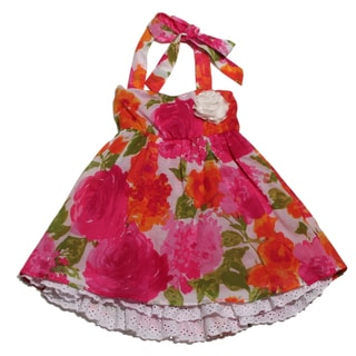Funkyberry Girls Pink Halter Floral Dress