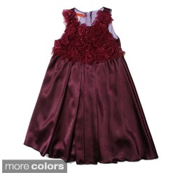 Funkyberry Girls Sleeveless Satin Rosette Dress