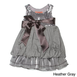 Funkyberry Girls Satin Bow Sequins Dress