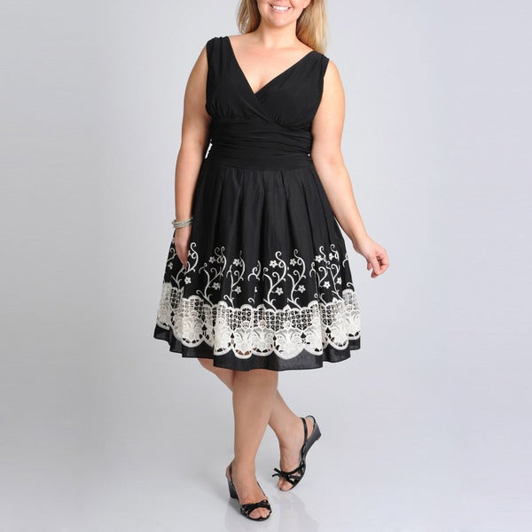 S.L. Fashions Women's Plus Border Embroidered Dress
