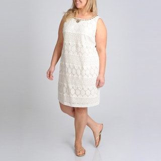 S.L. Fashions Women's Plus Lace Crochet Dress