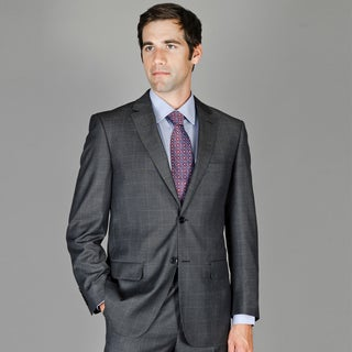 Teakweave Windowpane 2-button Wool and Silk Blend Suit